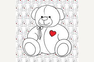 Teddy Bear toy line art vector