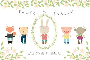 Bunny&Friend with FONTs BUNDLE SET