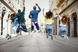 People jumping in the street