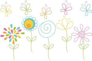 Vector Clip Art Doodle Flowers