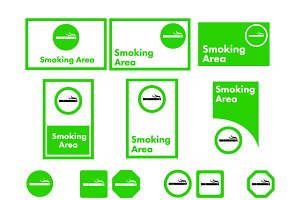 Smoking area sign icons