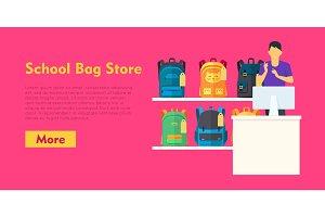 School Bag Store. Two Sellers Offering Backpacks