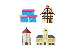 Historic and Modern Buildings Flat Vectors Set