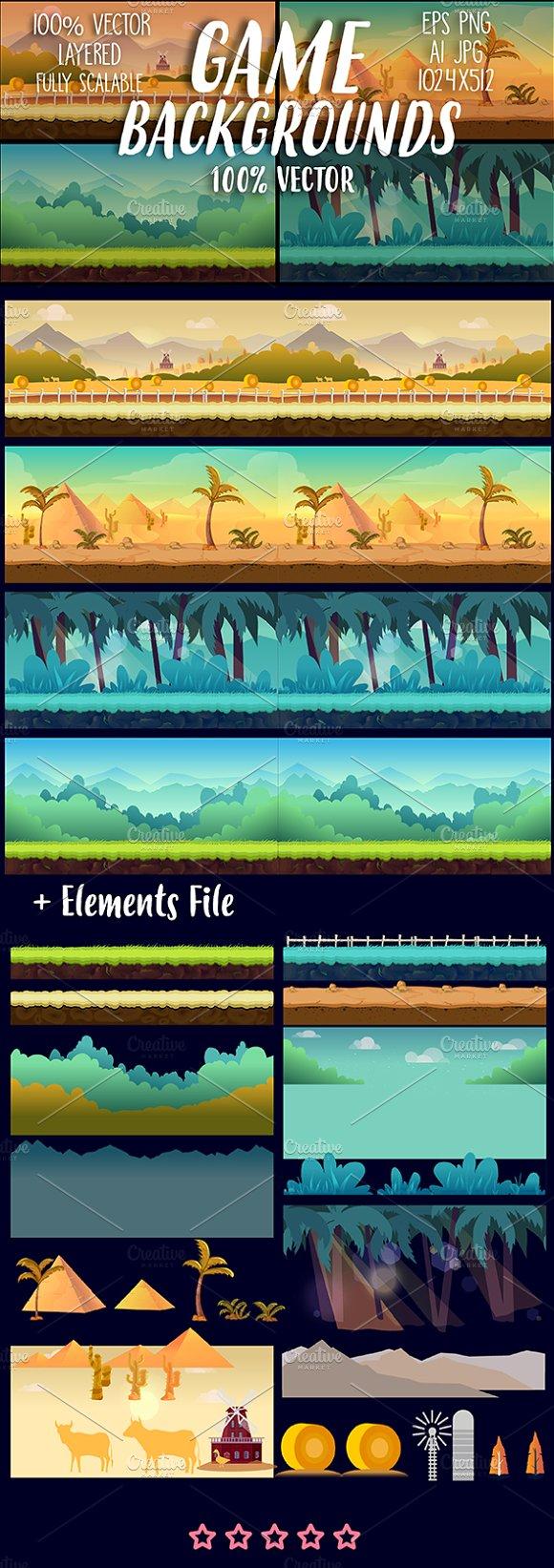 Cartoon Backgrounds Set