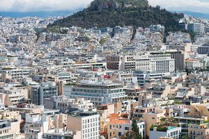Cityscape of Athens with Lycabettus Hill