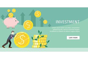 Investment Concept Flat Style Vector Illustration