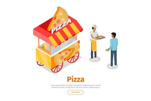 Pizza Trolley in Isometric Projection Style. Vector