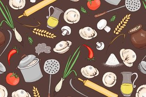 Kitchen and food seamless pattern
