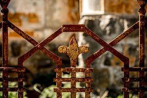 beautiful pattern of old metal fence