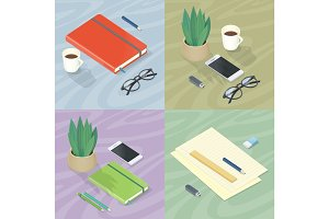 Workplace Concepts Set in Isometric Projection