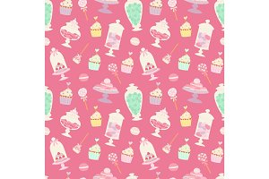 candies and sweets cartoon style seamless pattern vector illustration