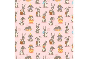 Happy adorable rabbit cartoon character cheerful mammal holiday bunny vector seamless pattern