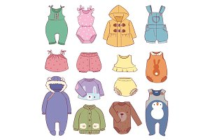 Set of seasonal infant clothes for kids babyish fashion infantile puerile cloth vector illustration