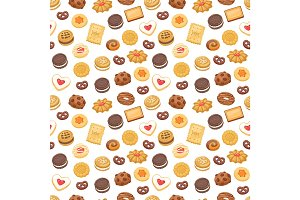 Different cookie cake isolated vector seamless pattern sweet food
