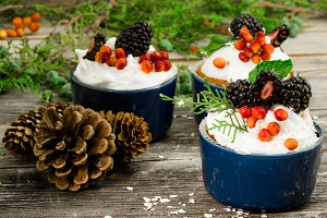 beautiful Christmas cupcake with cream and berry