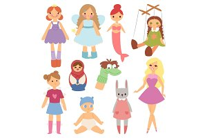 Different dolls fashion young clothes character game dress clothing childhood vector illustration