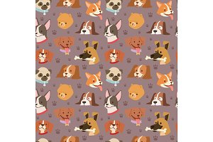 Dogs cute pets heads avatar face seamless pattern background vector