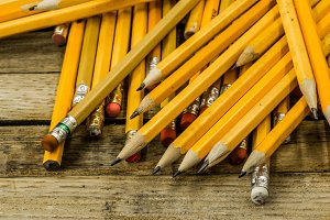 pencils in yellow