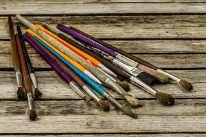 paint brushes of different colors