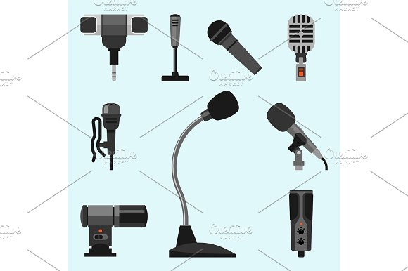 Different Microphones Types Icons Journalist Vector Interview Music Broadcasting Vocal Tool Tv Tool