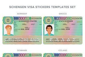 Schengen style visa templates set