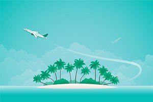 Airplane travel background