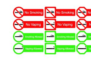 No smoking sign icons