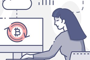 Young woman works on bitcoins