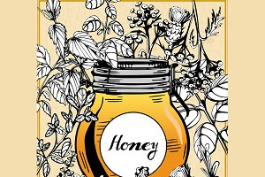 Honey jar surrounded with herbs