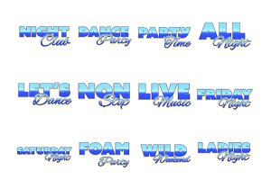 Night clubs words icons