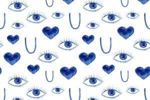 See U, love U, watercolor pattern