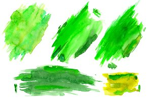 Green watercolor blots