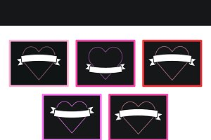 Neon heart cards