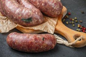 Raw homemade sausages