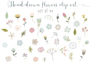 44 flowers clip art set