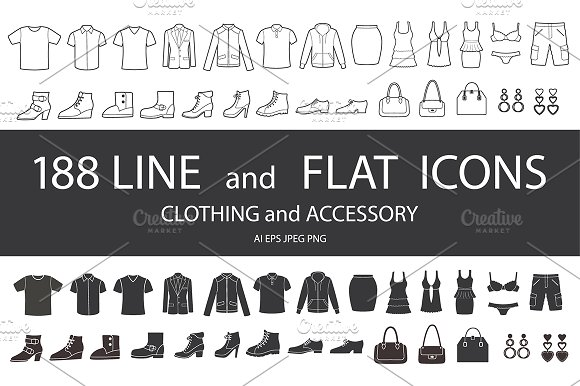 Set Of Clothing And Accessory Icons