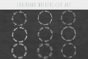 White chalkboard floral wreaths