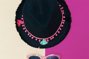 Summer hat and sunglasses.