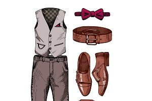 Set of stylish men's clothing