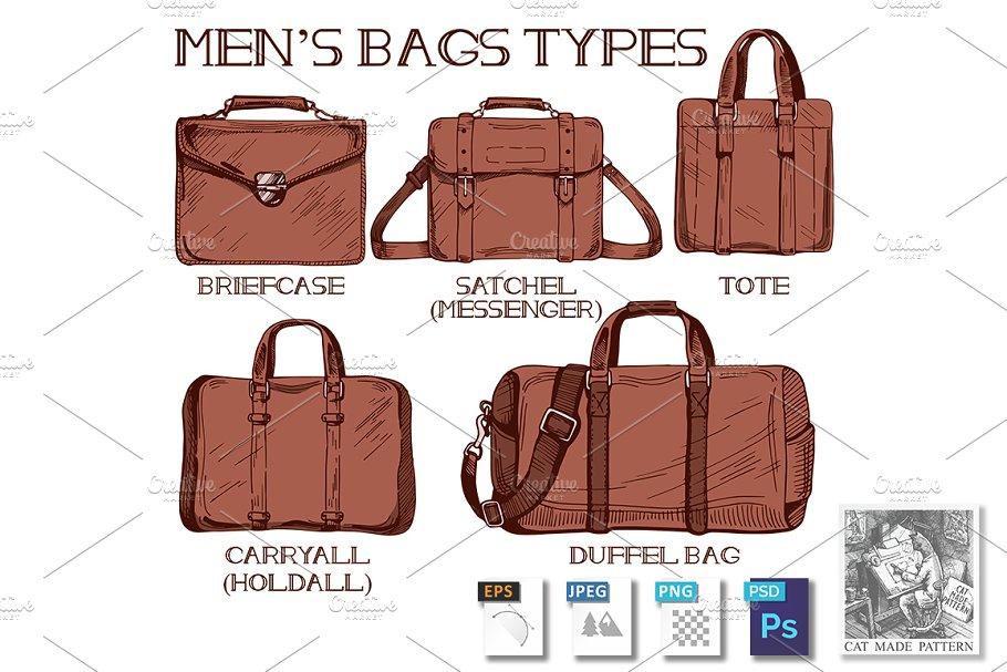 Men s bags types ~ Illustrations ~ Creative Market cb8dfc6f22d1