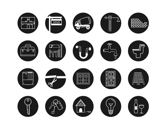 House warming  icons in Graphics