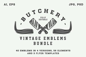 Vintage butchery emblems