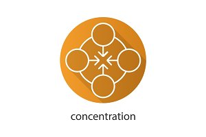 Concentration flat linear long shadow icon