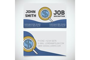 Business card print template with investors search logo