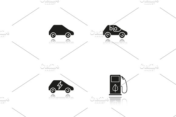 Eco Friendly Cars Drop Shadow Black Icons Set