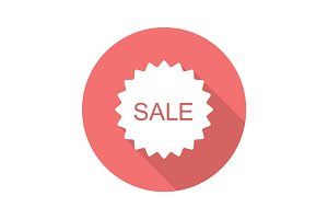 Sale red sticker. Flat design long shadow icon