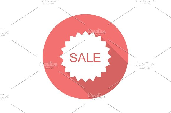 Sale Red Sticker Flat Design Long Shadow Icon