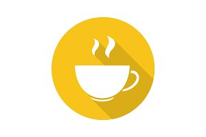 Steaming cup flat design long shadow icon