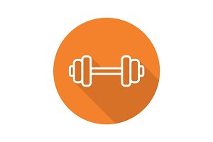 Gym barbell flat linear long shadow icon