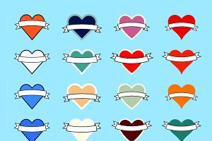 Heart banner icons